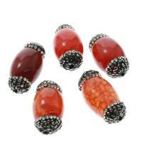 Natürliche Crackle Achat Perlen, Flachen Achat, plattiert, mit Strass, gemischte Farben, 14x27x14mm, Bohrung:ca. 1mm, 5/Tasche, verkauft von Tasche