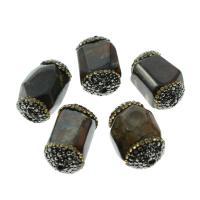 Natürliche Crackle Achat Perlen, Flachen Achat, plattiert, mit Strass, schwarz, 17x27x13mm, Bohrung:ca. 1mm, 5/Tasche, verkauft von Tasche