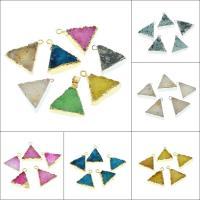 Natürliche Achat Druzy Anhänger, Eisquarz Achat, Dreieck, goldfarben plattiert, keine, 20x16x8mm, Bohrung:ca. 2mm, verkauft von PC