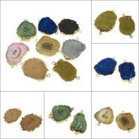 Eisquarz Achat Schmuckverbinder, goldfarben plattiert, 1/1-Schleife, keine, 37*23*5mm,38*29*5mm, Bohrung:ca. 2mm, verkauft von PC