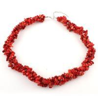 Koralle Halskette, mit Zinklegierung, mit Verlängerungskettchen von 5cm, unisex, rot, 10x6x3mm  5x3x2mm, verkauft per ca. 17 ZollInch Strang