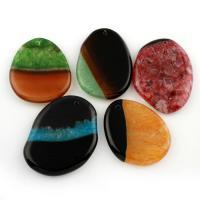 Spitze Achat Anhänger, Streifen Achat, Klumpen, farbenfroh, 43x39x6-33x41x6mm, Bohrung:ca. 1.5mm, 5PCs/Tasche, verkauft von Tasche