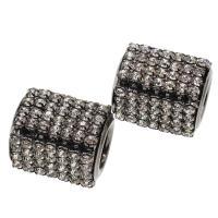 Messing Großes Loch Perlen, Zylinder, mit Strass, frei von Nickel, Blei & Kadmium, 20x25mm, Bohrung:ca. 11.6mm, 10PCs/Tasche, verkauft von Tasche