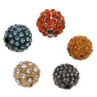 Strass Zinklegierung Perlen, rund, plattiert, verschiedene Größen vorhanden & mit Strass, keine, frei von Nickel, Blei & Kadmium, Bohrung:ca. 2mm, 50PCs/Tasche, verkauft von Tasche