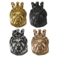 Edelstahl-Perlen mit großem Loch, Edelstahl, Löwe, plattiert, keine, 8.50x13x11mm, Bohrung:ca. 5mm, 10PCs/Menge, verkauft von Menge