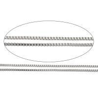 Halskette, Edelstahl, verschiedene Größen vorhanden & Kastenkette, originale Farbe, frei von Nickel, Blei & Kadmium, 100m/Menge, verkauft von Menge