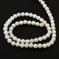 Weiße Porzellan Perlen, rund, weiß, 6x6mm, ca. 66PCs/Strang, verkauft von Strang