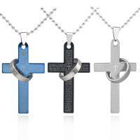 Titanstahl Pullover Halskette, Kreuz, plattiert, Kugelkette & für den Menschen, keine, 52x31mm, verkauft per ca. 23.63 ZollInch Strang