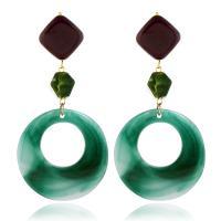 Acryl Tropfen Ohrring, mit Zinklegierung, plattiert, für Frau, grün, 95x48mm, verkauft von Paar