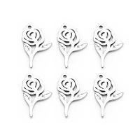 Edelstahl -Blumen-Anhänger, Rose, 9X15mm, 20PC/Tasche, verkauft von Tasche