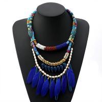 Zinklegierung Halskette, mit Seedbead & Feder & Baumwolle Schnur & Acryl, plattiert, mehrschichtig & für Frau, blau, frei von Nickel, Blei & Kadmium, verkauft per 19.4 ZollInch Strang