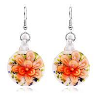 Lampwork Tropfen Ohrring, Edelstahl Haken, für Frau & Goldsand & innen Blume, keine, 19mm, verkauft von Paar