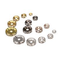 Eisen Zwischenperlen, Kreisring, plattiert, verschiedene Größen vorhanden & mit Strass, keine, frei von Nickel, Blei & Kadmium, ca. 50PCs/Tasche, verkauft von Tasche