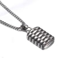 Titanstahl Halskette, Rechteck, Kastenkette & für den Menschen, originale Farbe, 24x33mm, Länge:ca. 23.6 ZollInch, 2SträngeStrang/Menge, verkauft von Menge