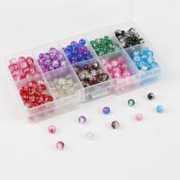 Knistern Glasperlen, Glas, rund, verschiedene Größen vorhanden, gemischte Farben, Bohrung:ca. 1mm, verkauft von Box