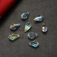 Mode Glasperlen, Glas, Tropfen, plattiert, farbenfroh, 5.5x11mm, Bohrung:ca. 1mm, 84PCs/Tasche, verkauft von Tasche