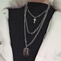 Zinklegierung Halskette, Kreuz, silberfarben plattiert, für den Menschen, Silberfarbe, frei von Nickel, Blei & Kadmium, 450mm,600mm,700mm, 3PC/setzen, verkauft von setzen