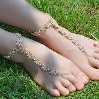 Zinklegierung Zehe Fußkette, mit Verlängerungskettchen von 10cm, plattiert, für Frau & mit Strass, keine, frei von Nickel, Blei & Kadmium, 150mm, verkauft per 7.48 ZollInch Strang
