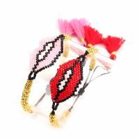 Seedbead Armband, mit Nylon Polypropylen, Lippe, einstellbar & für Frau, keine, 40x14mm, Länge:ca. 6.3-9.5 ZollInch, 2SträngeStrang/Menge, verkauft von Menge