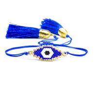 Evil Eye Schmuck Armband, Seedbead, mit Nylon Polypropylen, blöser Blick, einstellbar & verschiedene Stile für Wahl & für Frau, Länge:ca. 6.3-9.4 ZollInch, 2SträngeStrang/Menge, verkauft von Menge