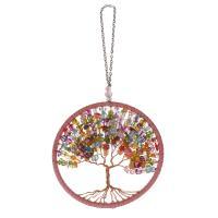 Hängende Ornamente, Eisen, mit Messingdraht & Baumwollsamt & Harz, Oval-Kette, Rosa, frei von Nickel, Blei & Kadmium, 112mm, 5PCs/Menge, verkauft von Menge