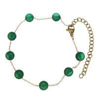 Achat Schmuck Armband, mit Edelstahl, goldfarben plattiert, einstellbar & Oval-Kette & für Frau, 6x6.5mm,1mm, verkauft per ca. 10 ZollInch Strang