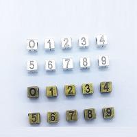 Zink Legierung Europa Perlen, Zinklegierung, Quadrat, plattiert, keine, frei von Nickel, Blei & Kadmium, 7x7mm, Bohrung:ca. 5mm, 100PCs/Tasche, verkauft von Tasche
