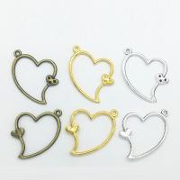 Zinklegierung Herz Anhänger, plattiert, hohl, keine, frei von Nickel, Blei & Kadmium, 36x26x2mm, 100PCs/Tasche, verkauft von Tasche