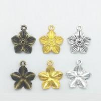 Zinklegierung Blume Anhänger, plattiert, keine, frei von Nickel, Blei & Kadmium, 21x18x2mm, Bohrung:ca. 1mm, 100PCs/Tasche, verkauft von Tasche