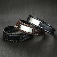 PU Schnur Armbänder, PU Leder, mit Zinklegierung, plattiert, für den Menschen, keine, 39x12mm, verkauft per ca. 7.6 ZollInch Strang