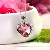 Zinklegierung Schmuck Halskette, mit Österreichischer Kristall, mit Verlängerungskettchen von 5cm, Herz, silberfarben plattiert, für Frau & mit Strass, keine, frei von Nickel, Blei & Kadmium, 25*25mm, verkauft per 16 ZollInch Strang