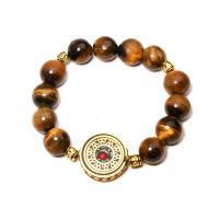 Natürliche Tiger Eye Armband, Tigerauge, mit Zinklegierung, flache Runde, für Frau, 12mm, Länge:ca. 7 ZollInch, 2SträngeStrang/Menge, verkauft von Menge