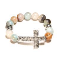 Amazonit Armband, mit Zinklegierung, Kreuz, für Frau, 12mm, Länge:ca. 7 ZollInch, 2SträngeStrang/Menge, verkauft von Menge