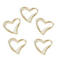 Messing Herz Anhänger, goldfarben plattiert, frei von Nickel, Blei & Kadmium, 43x44mm, Bohrung:ca. 2mm, ca. 10PCs/Tasche, verkauft von Tasche