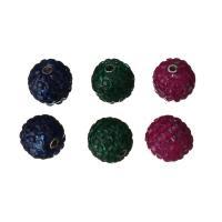 Kubischer Zirkonia Messing Perlen, mit kubischer Zirkonia, gemischte Farben, frei von Nickel, Blei & Kadmium, 11x11x11mm, Bohrung:ca. 2mm, verkauft von PC