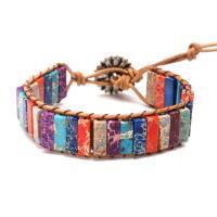 Impression Jaspis Armband, mit PU Leder, Blume, einstellbar & für Frau, verkauft per ca. 7 ZollInch Strang