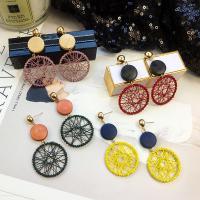 Eisen Tropfen Ohrring, mit Holz, goldfarben plattiert, Folk-Stil & für Frau, keine, frei von Nickel, Blei & Kadmium, 30x63mm, verkauft von Paar