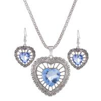 Zinklegierung Schmucksets, Ohrring & Halskette, mit Kristall, Messing Haken, silberfarben plattiert, für Frau, keine, frei von Nickel, Blei & Kadmium, verkauft von setzen