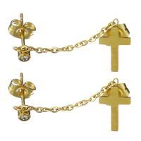 Edelstahl Ohrringe, goldfarben plattiert, für Frau & mit Strass, 3x5mm,7.5x13mm,33mm, verkauft von Paar