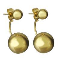 Edelstahl Cartoon-Split-Ohrring, goldfarben plattiert, für Frau, 12x12mm,25mm, verkauft von Paar