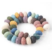 Natürliche Lava Perlen, plattiert, keine, 15*10mm, verkauft von Strang