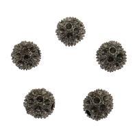 Zinklegierung Perlen Einstellung, rund, metallschwarz plattiert, frei von Nickel, Blei & Kadmium, 12x12mm, Bohrung:ca. 2.5mm, 10PCs/Tasche, verkauft von Tasche