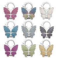 Art und Weisebeutel Aufhänger, Zinklegierung, mit Kunststoff, Schmetterling, silberfarben plattiert, keine, 70x10x53mm, 5PCs/Menge, verkauft von Menge