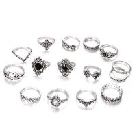 Zinklegierung Ring Set, Fingerring, für Frau & mit Strass, verkauft von setzen