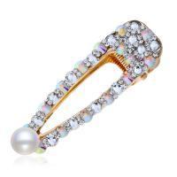 Schnabelspange, Zinklegierung, mit Strass & Kunststoff Perlen, plattiert, für Frau & mit Strass, keine, frei von Nickel, Blei & Kadmium, 82*25mm, verkauft von PC