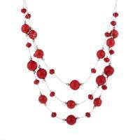Mode Türkis Halskette, Zinklegierung, mit Türkis, mit Verlängerungskettchen von 5cm, Platinfarbe platiniert, mehrschichtig & für Frau, rot, frei von Nickel, Blei & Kadmium, verkauft per 17.7 ZollInch Strang