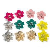 Zinklegierung Ohrstecker, Blume, plattiert, 3D-Effekt & für Frau & mit Strass, keine, frei von Nickel, Blei & Kadmium, 43mm, verkauft von Paar