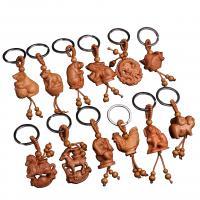 Holz Schlüsselanhänger, mit Edelstahl, Tier, unisex & verschiedene Stile für Wahl, Henna Rot, 12PCs/Tasche, verkauft von Tasche