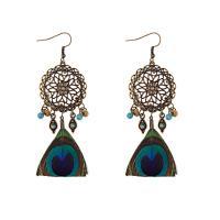 Zinklegierung Tropfen Ohrring, mit Feder, für Frau, goldfarben, frei von Nickel, Blei & Kadmium, 90mm, verkauft von Paar