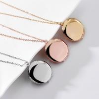 Zinklegierung Medaillon-Halskette, flache Runde, unisex, keine, frei von Nickel, Blei & Kadmium, 25x25mm, verkauft per ca. 15.7 ZollInch Strang